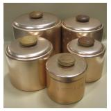 10 Pc  Vtg Collection Aluminum Canister Set