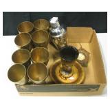 Brass Goblets, Mixer, Wood & Metal Decor