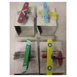 Collectors Set Of Miniature Biplanes - Metal