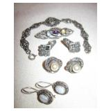 Art Deco Style Sterling Marked Jewelry Lot