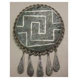 Vtg Sterling Silver & Stone Inlay Brooch