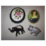 Lot Of 4 Vintage Brooches / Pins
