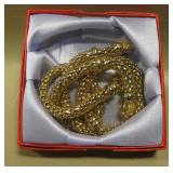 """18"""" Gold New Dangling Heart Snake Rope Necklace"""
