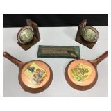 Globe Bookends, Fishing Sign & 2 Decor Pans