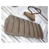 "Vtg 12.5"" Cast Iron Corn Bread Mold & Sad Iron"