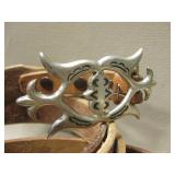 2 Leather Western Belts - 1 Sterling Silver Buckle