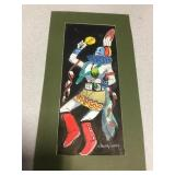 "Matted Native Dancer Painting - 7.5"" x 14"""