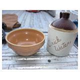 """Crick Water"" Whiskey Jug & 9"" USA Ceramic Bowl"