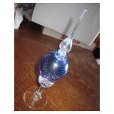 "9"" Tall Blown Art Glass Perfume Bottle w/ Stopper"
