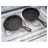 2 Small Vintage Cast Iron Skillets - 6""