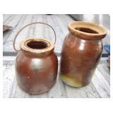 """2 Vintage Stoneware Crocks - 6"""" & 8"""""""