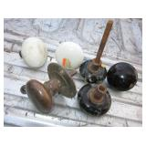 6 Vintage / Antique Door Knobs - 5 Are Enameled