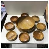 Vtg Turned Wood Salad Bowl w/ 8 Serving Bowls
