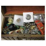 Jewelry Box w/ Coins, Casino Chips, Stamps & More