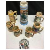 "7 Hand-Painted Ceramic Beer Steins - 11.5"" Tallest"