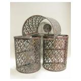 "3 Metal Wall Mount Candle Sconces - 8.5"" Tall"