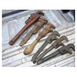 6 Vintage Pipe Wrenches Up To 14""