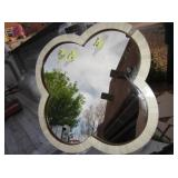 """Cut Bone Framed Mirror w/ 1 Piece Missing - 22"""""""