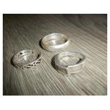 3 Sterling Silver Hallmarked Rings