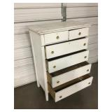 "Antique 6-Drawer Wood Chest - 34"" x 19"" x 47"""