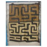 "17"" x 22"" Kuba Cloth Raffia Textile - Congo"