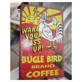 """Bugle Bird Coffee Metal Sign - 10"""" x 16"""""""