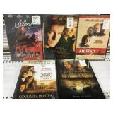 Lot of 5 sealed Dvds new old Stock Amistad etc..