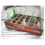 Vtg Wood Coke Crate w/ Asst