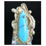 Vtg Sterling & Turquoise Ring