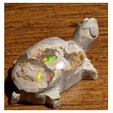 24Cts Polished Mexican Rainbow Opal Turtle Fetish