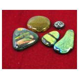 (5)Pieces Of Dichroic Glass For Jewelry Making
