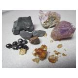 Crystal Specimen Collection Amethyst Point Amber
