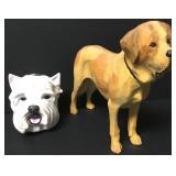 Carved Wood Dog & Porcelain Stirrup Cup