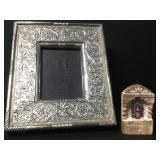 "10""x8"" Vintage Ornate Punched Tin Frame & Nicho"