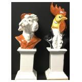 Rare Royal Mayolica Italian Animal Busts Signed
