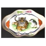 """Vintage Lynn Chase Porcelain Tiger Raj DIsh 4"""""""