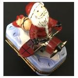 French Limoges Porcelain Ring Box Peint Mein Santa