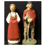 """Lot Of 2 Henning Hand Carved Viking Couple 7"""""""