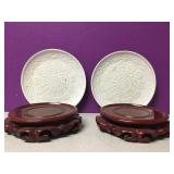 Chinese Red Wood Trivets & Pier 1 Plates