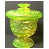 Antique Uranium Vaseline Glass Acorn Lidded Bowl