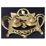 Antique Rococo Brass Double Ink Well