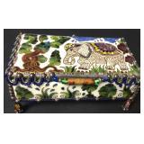 Rare Native Debora Clare Art Glass Footed Box