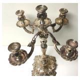 Antique Silver Baroque Four Arm Candelabra