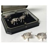 Set Of 6 Antique Pig Place Card Holders