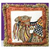 Custom Needlepoint Indian Camel Down Pillow