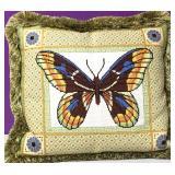 Custom Needlepoint Butterfly Down Pillow