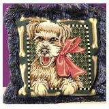 "Custom Needlepoint ""The Happy Dog"" Down Pillow"
