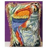 Custom Needlepoint Macaw Parrot Down PIllow