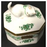 Herend Hungary Kitten Cat Octagonal Trinket Box