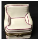 Limoges Signed Trinket Box Comfy Sofa Chair & Book